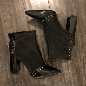 Studded mesh pointed booties